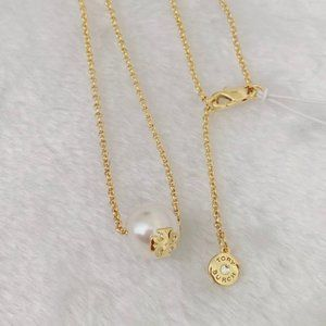 Tory Burch Logo Charm Pearl Necklace
